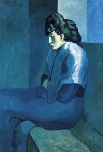 Une femme assise devant une fenêtre avec expression de profonde tristesse peinte par Picasso dans un tableau appelé Mélancolie, représente les patients qui viennent en psychothérapie de la dépression, bleu