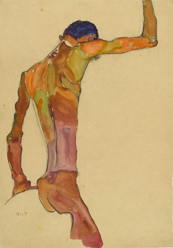 Egon Schiele nu masculin le corps accuse le coup médiation corporelle